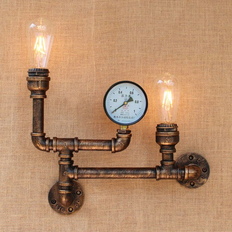 Nordic industrial style 2 heads metal water pipe wall light american nordic industrial style 2 heads metal water pipe wall light american country loft wall lamp e27 aloadofball Gallery
