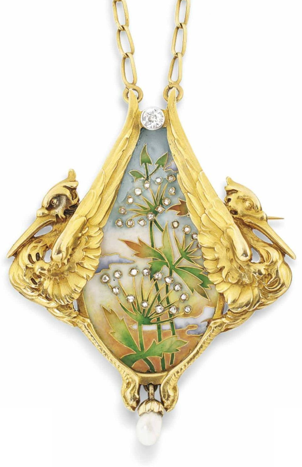 An art nouveau enamel and diamond pendant brooch by antoine