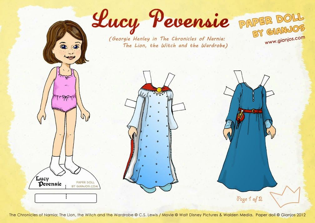 Arts by Gianjos: Lucy Pevensie (Narnia) Paper Doll | Paper dolls ...