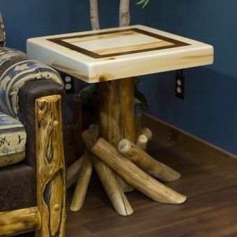 This Aspen Log End Table Has A Walnut Inlay Ed In The Top Adding To The Beauty Of The Table The Legs Are Adorned With Aspen Logs Flaring Ou With Images Log