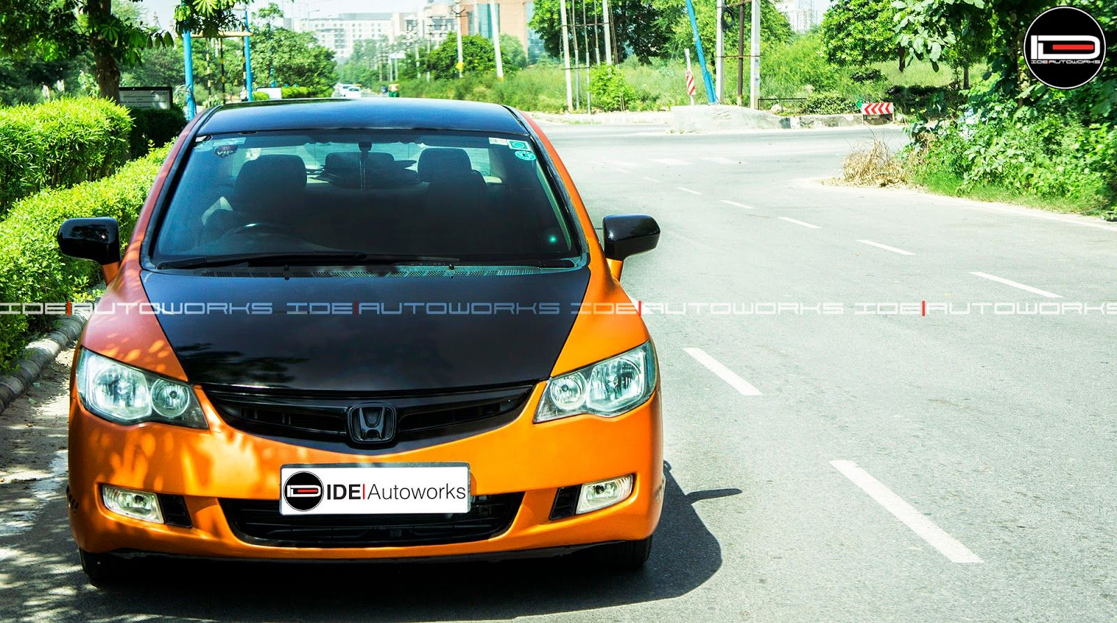 Honda Civic Wrapped In Matte Metallic Orange Honda Hondacivic Ide Ideautoworks Honda Civic Civic Honda