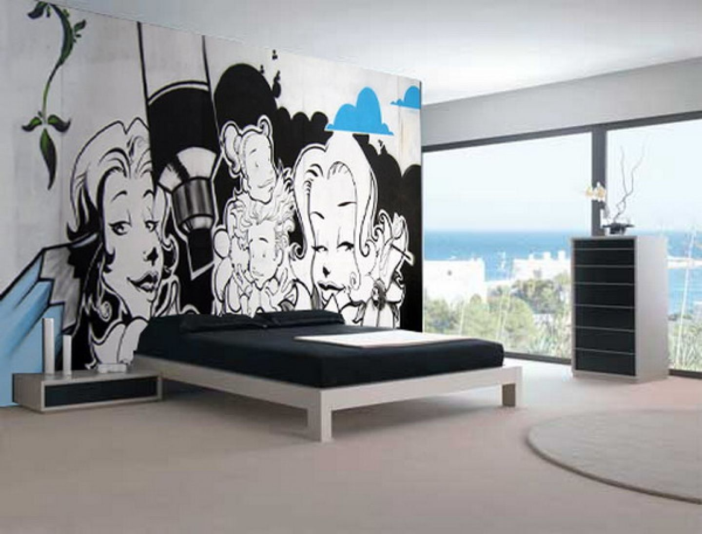 Bedroom paint designs black and white - Cute Black White Graffiti Mural Teen Bedroom Interior Design Idea