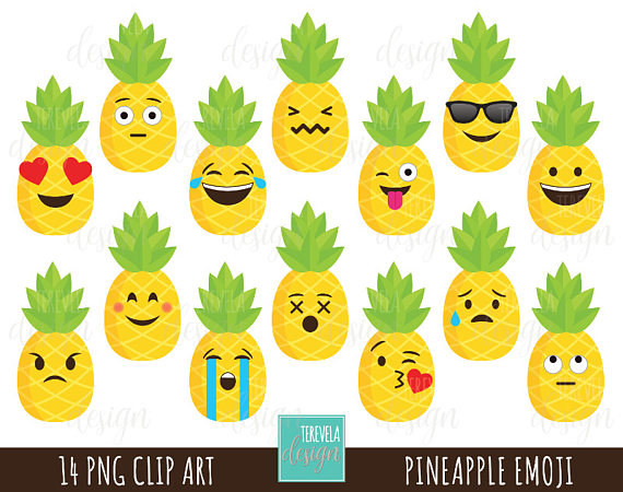 Pineapple Clipart Emoji Clipart Commercial Use Fun Clipart Etsy Pineapple Clipart Emoji Clipart Clip Art