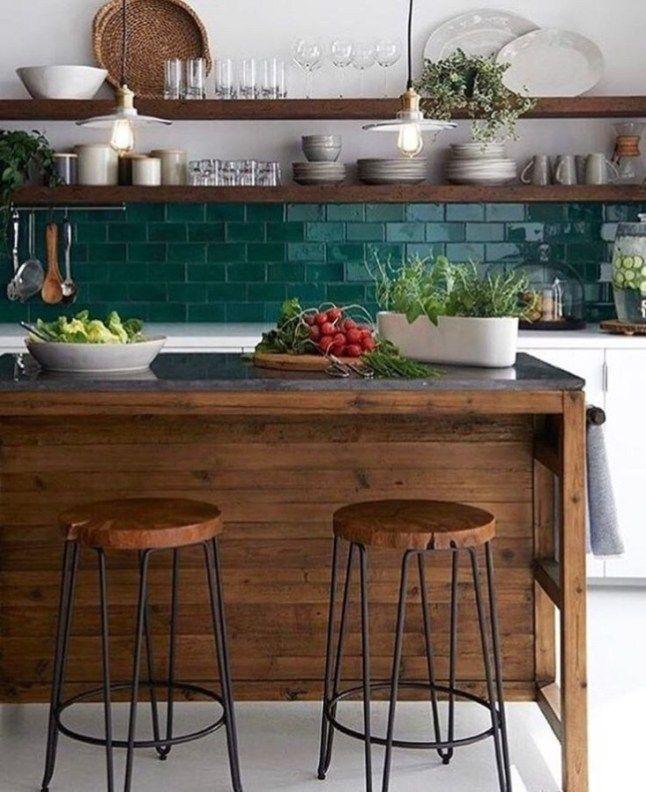 Modern Emerald Green Decor Ideas For Kitchen43 Home Kitchens Rustic Kitchen Kitchen Interior