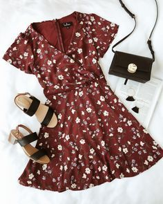 Dolly Burgundy Floral Print Short Sleeve Surplice Dress