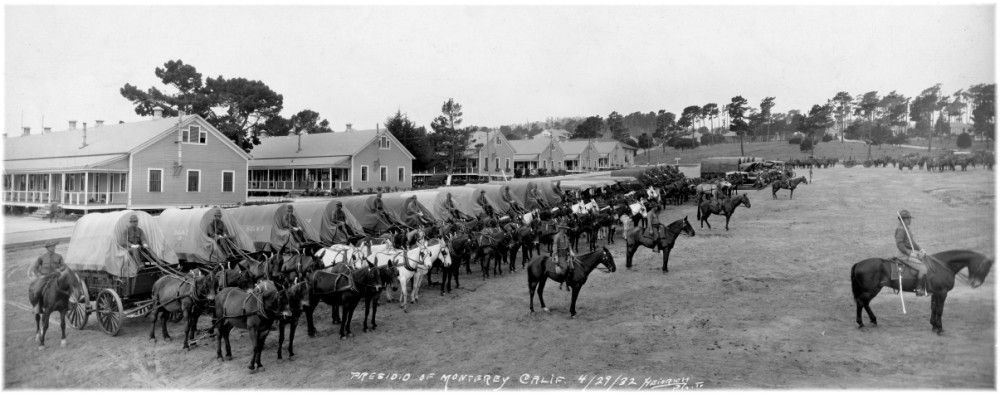 Presidio Of Monterey April 29 1932 Soldier Field Left To Right 11th Cavalry 11 Escort Wagons 5 Mountain Wagons Probably The 76th Fa 5 Escort