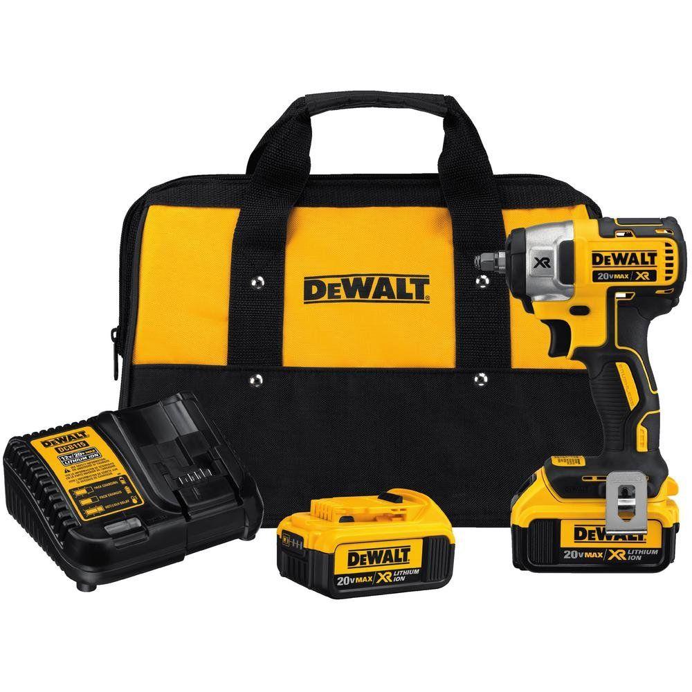 DEWALT 20V MAX XR Cordless Impact Wrench Kit, 3 8Inch
