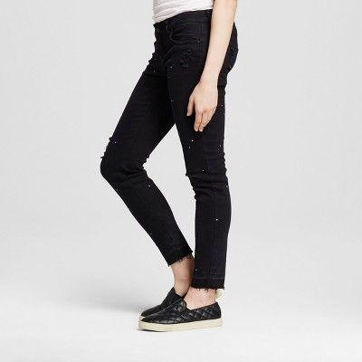 Women's Paint Splatter Skinny Jeans Black 13 - Dollhouse (Juniors')