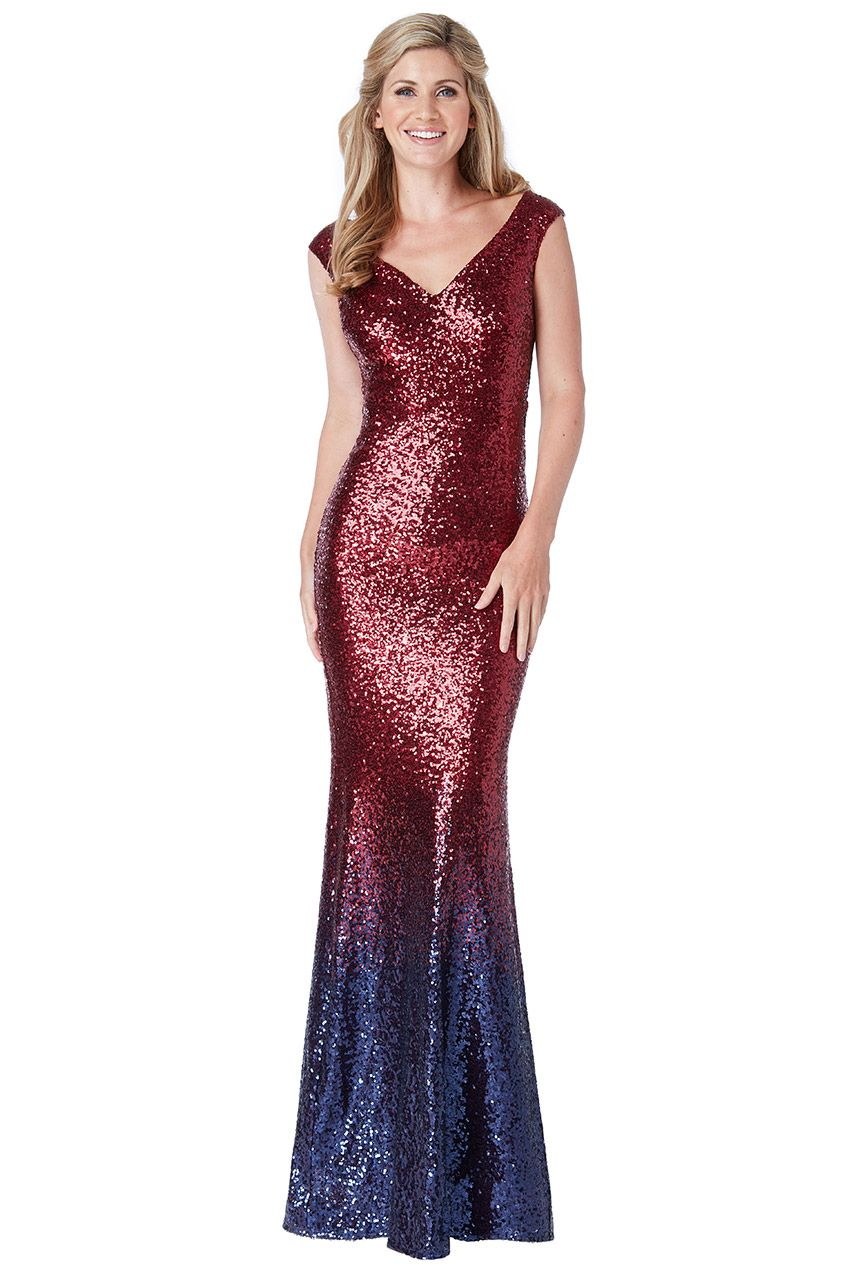 Tygoddess sequin and chiffon ombre maxi dress