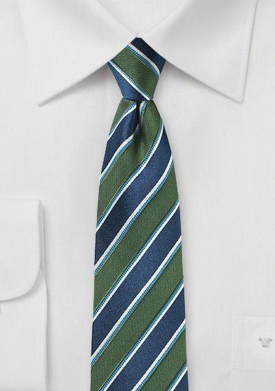 Awning Stripe Skinny Tie In Green And Navy Navy Stripes Skinny Ties Navy Blue Suit