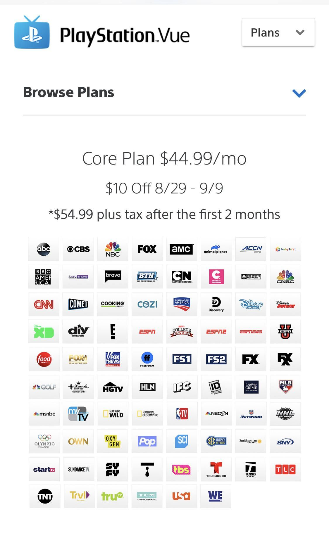 PS Vue Core 10 off until 9/9. Story of my life...I signed