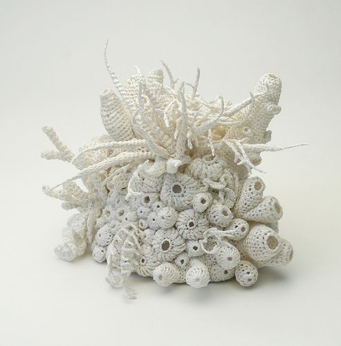 Bleached Coral Garden, crochet (paper on wicker armature) by Gooseflesh / Helle Jørgensen