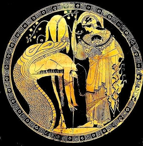Athena's aegis, bearing the Gorgon, here resembles closely the skin of the huge serpent who guards the golden fleece (regurgitating Jason); cup by Douris, Classical Greece, early fifth century BC - Vatican Museum