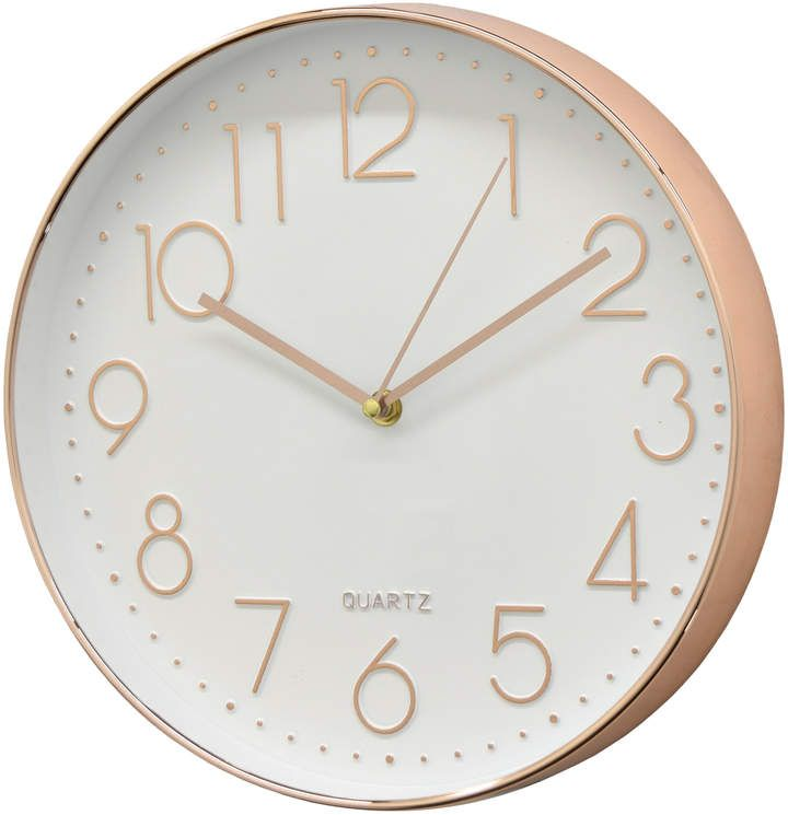 Three Hands Corp White Rose Gold Tone Wall Clock