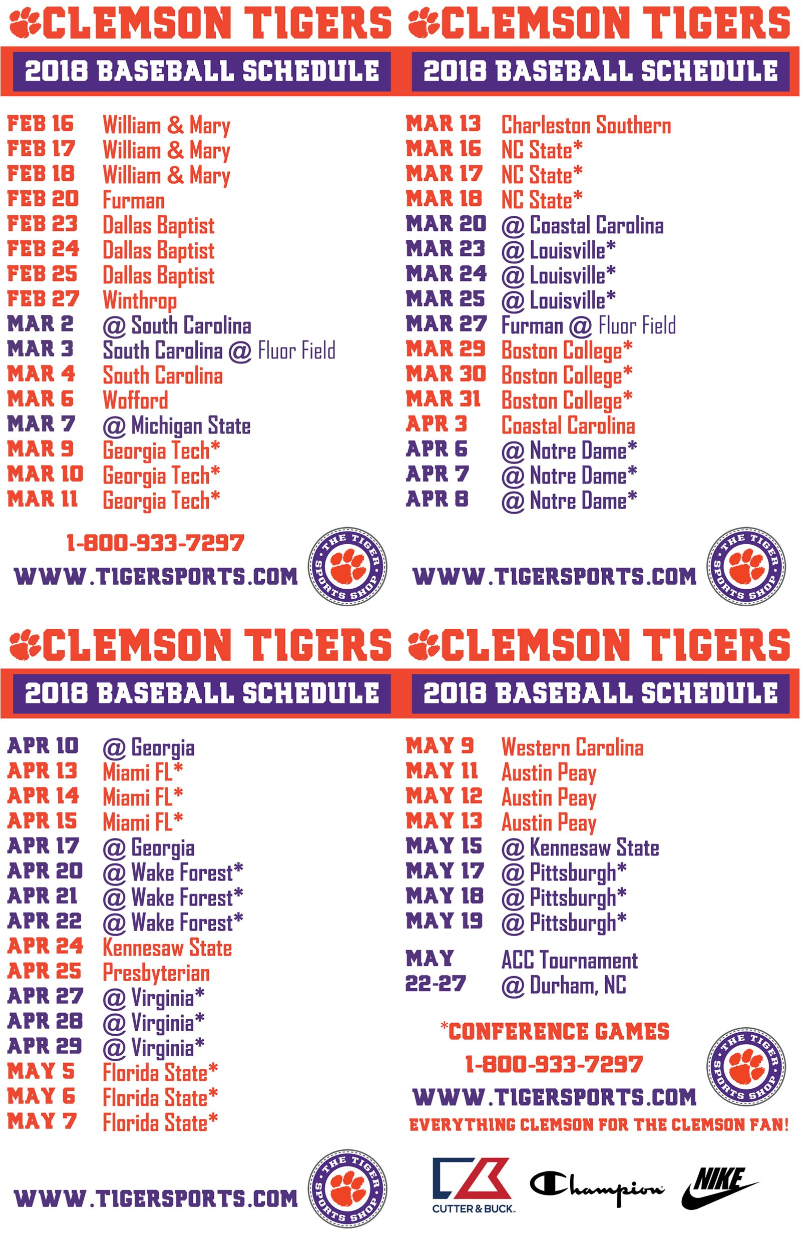 2018 Clemson Baseball Schedule Card All In And Go Tigers