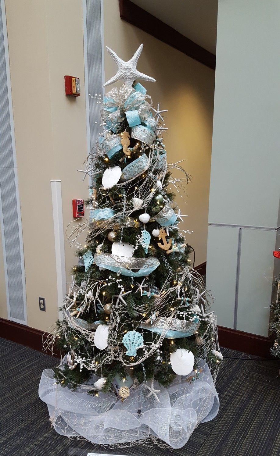 Ocean Sea Beach Theme Christmas Tree Created For A Charity Event Christmas Tree Themes Coastal Christmas Decor Beach Christmas Trees