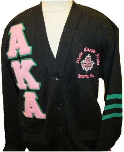 9f4a34a228e Alpha Kappa Alpha Sorority Black Cardigan sweater | Pretty Pearls ...