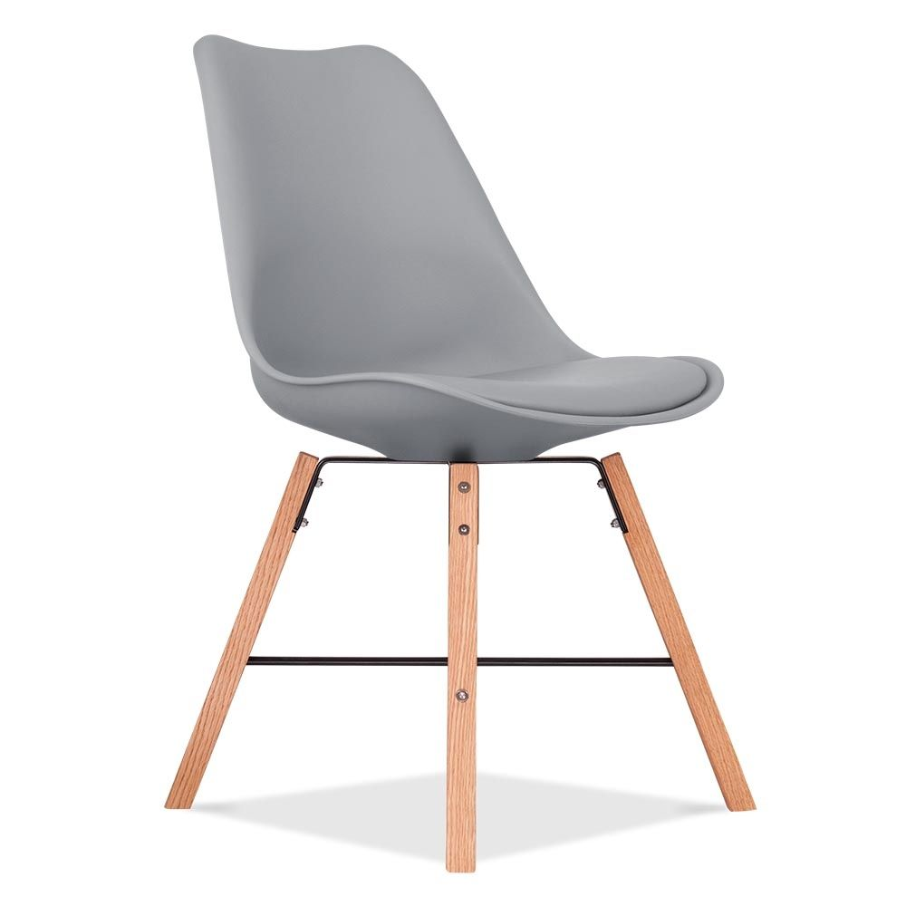 Awesome Eames Inspired Soft Pad Dining Chair With Cross Brace Legs   Cool Grey