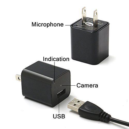 1080p hd spy camera night vision wall charger
