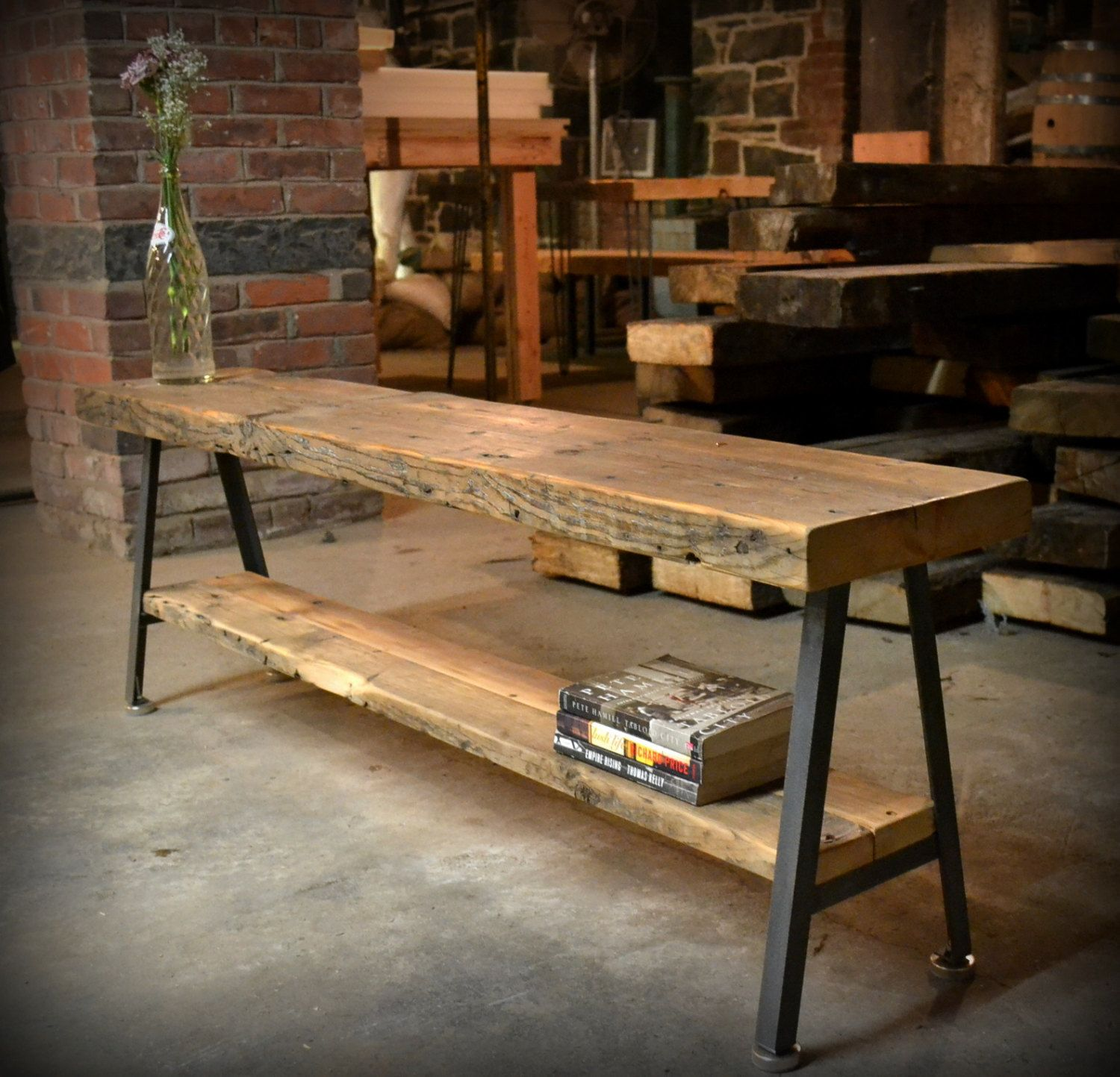 Salvaged Wood and Recycled Iron A frame Benches