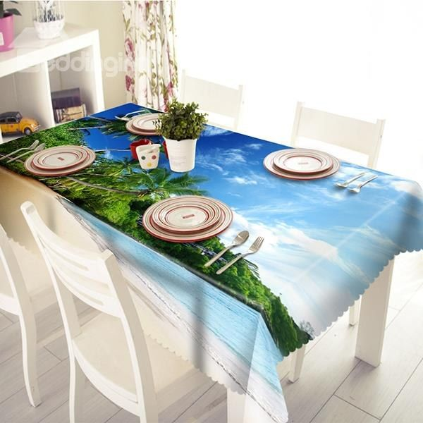 Beautiful Polyester Sandbeach And Sea Scenery Pattern 3D Brilliant Tablecloth For Dining Room Table Review