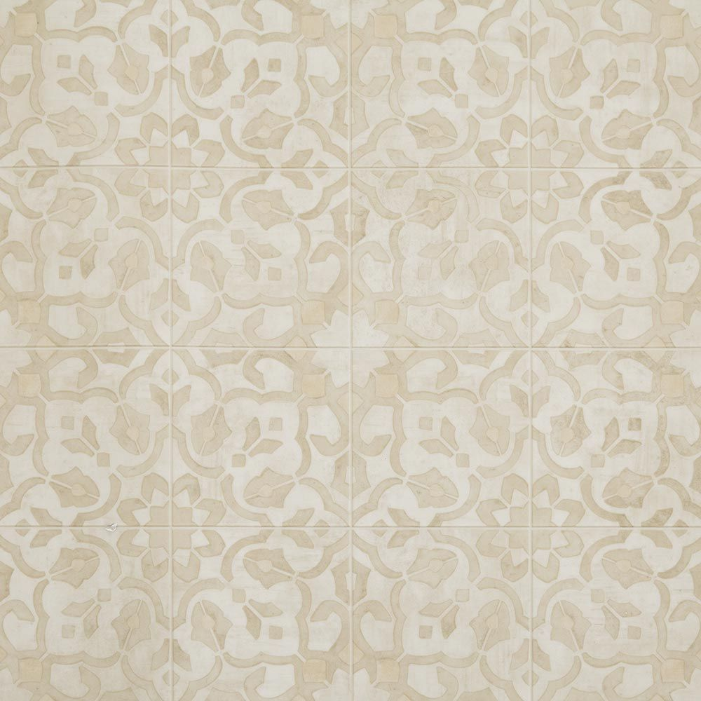 A 6 luxury vinyl tile floor design with a vintage floral for Patterned linoleum tiles
