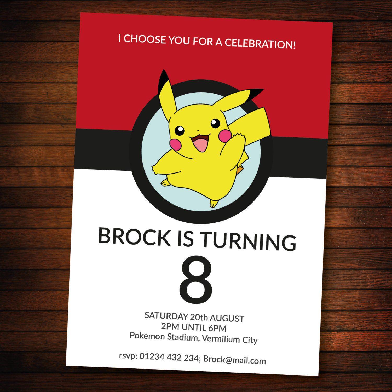 Personalised Pokemon Invite Self Editable Pdf 5 X 7 Inch Etsy In 2021 Pokemon Invitations Pokemon Birthday Party Pokemon Birthday