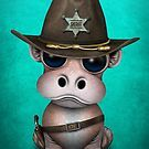 Cute Baby Hippo Sheriff | Art Print #babyhippo