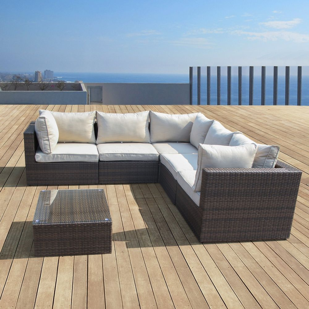 Supernova Outdoor Patio 6pc Sectional Furniture Wicker Sofa Set