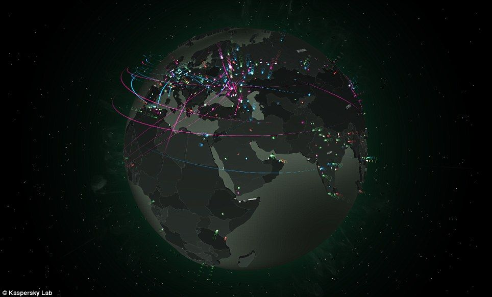 Map shows the amount of cyber attacks around the world in real time using kaspersky labs interactive map users can rotate the globe and zoom in to any part of the world to get a closer look at the local threat landscape gumiabroncs Gallery