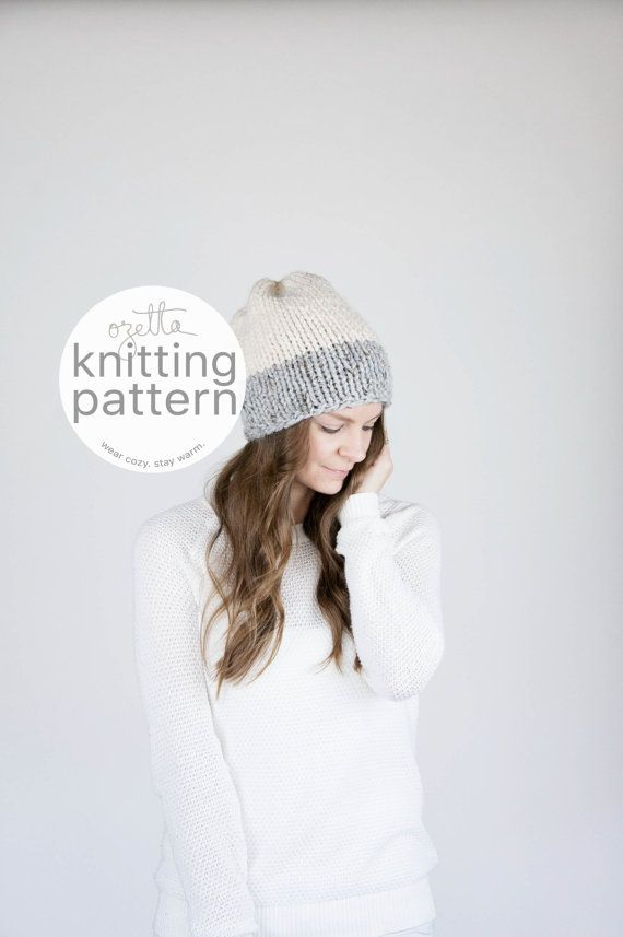 Knitting Pattern / Two-Tone Slouchy Knit Hat / THE FRONTIER Hat ...