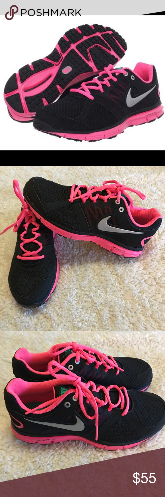 Shop Women's Nike Black Pink size 8 Athletic Shoes at a discounted price at  Poshmark. Super cute and girly.