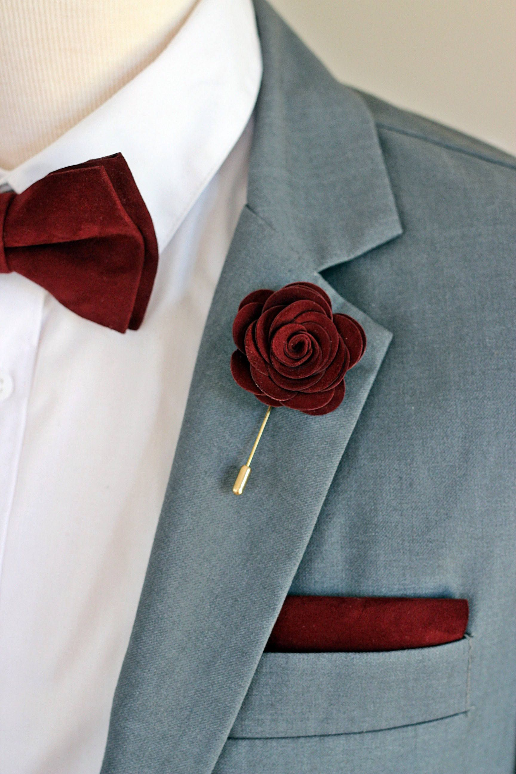 Leather burgundy rose flower pin, burgundy groomsmens ...