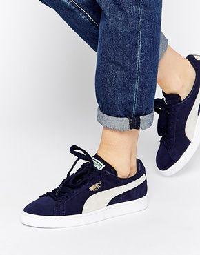 25445e9942e Puma Classic Suede Navy Peacoat Trainers | Fashion | Puma sneakers ...