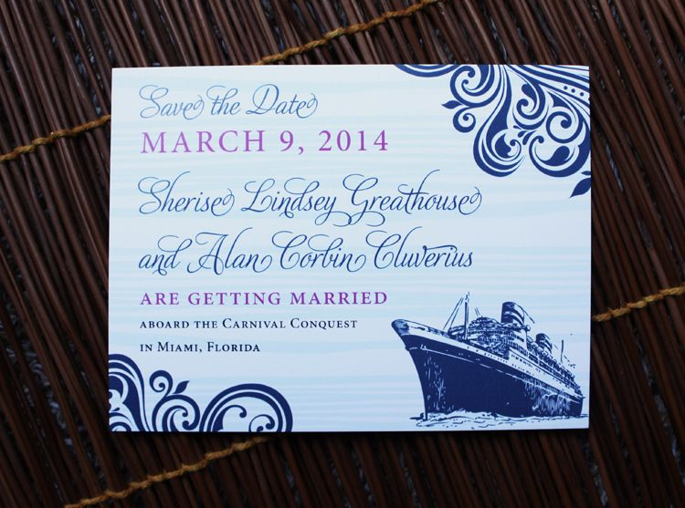 Navy Fuchsia Swirls Cruise Ship Wedding SavetheDate Cards