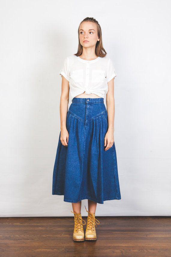 Vintage Denim Midi Skirt High Waist Mid Length Jean By Wenojean Vintage Denim High Waisted Skirt Midi Skirt