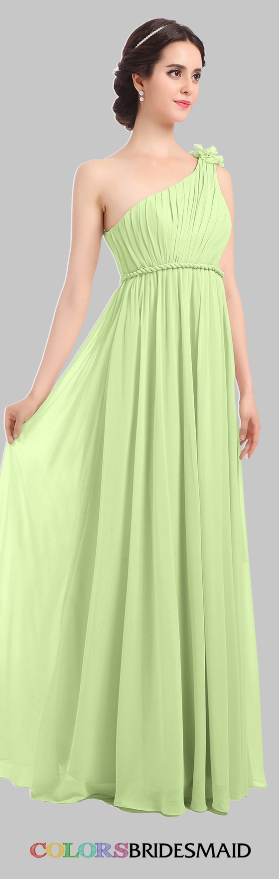 This long bridesmaid dress in butterfly a popular green color shade