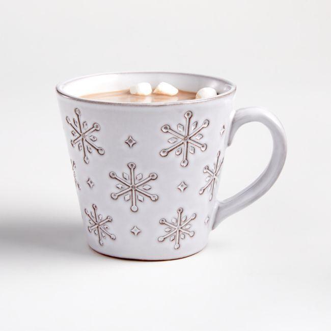 Stamped Snowflake Mug Reviews Crate And Barrel In 2020 Mugs Christmas Dinnerware Crate And Barrel