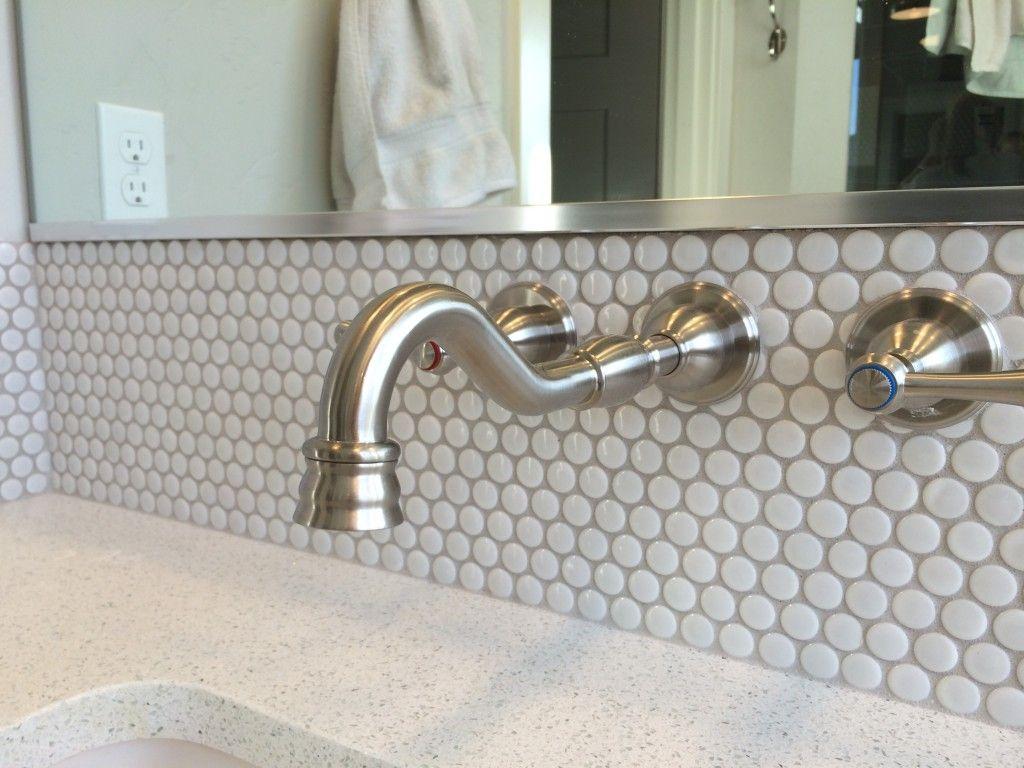 Wall Mounted Bathroom Sink And Penny Tile Backsplash Wall Mount