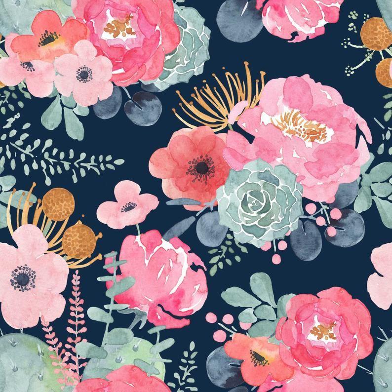 Blush Pink Flower Wallpaper Peel Stick Mural Remove Floral Wallpaper Watercolor Floral Nursery Wall Paper Removable Wallpaper Vintage 147 Floral Wallpaper Nursery Nursery Wallpaper Girl Room