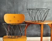 Vintage Pair Black Coated Metal Plant Baskets