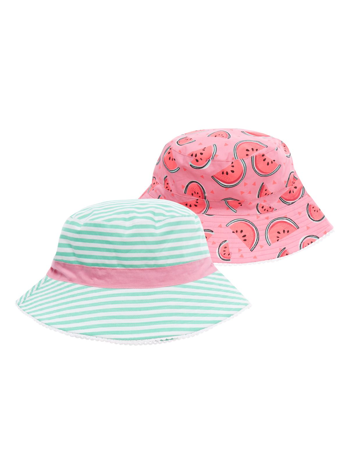 d2dec78bea1 Keep her safe in the sun with this fruity set of bucket hats. As well