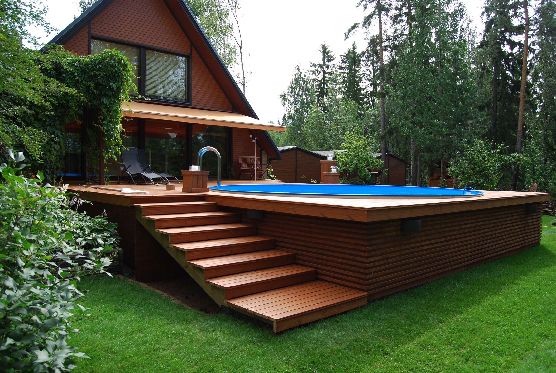 Maistiainen vihervinkeist uima allas kotipihalle uima for Pool treppe selber bauen