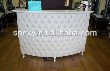 Customized Hot Sale White Tufted Reception Desk For Nail Salon