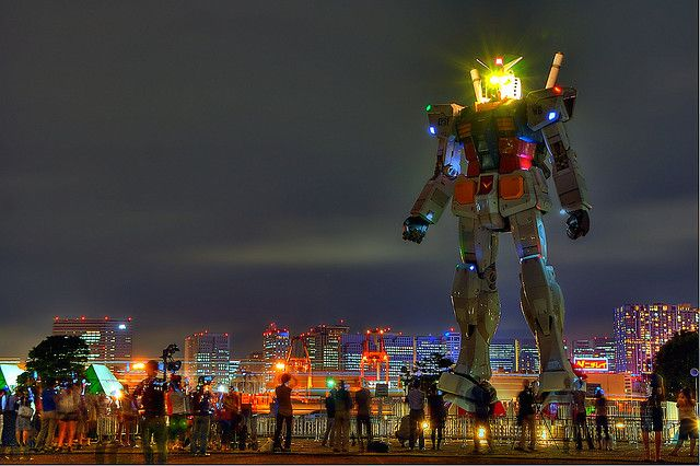 """Gundam in Odaiba  Typical Japanese!    To celebrate the 30th anniversary of the anime series """"Gundam"""" they build a full-scale reproduction of one of this robot and placed it on Odaiba, an island in the bay of Tokyo Japan."""