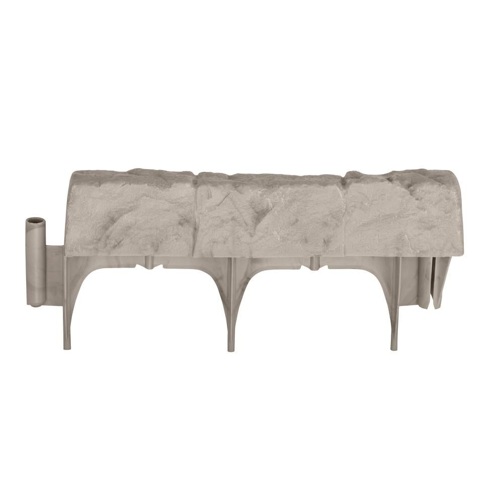 Border Stone (Grey) 10 ft. (12 in. Sections) Resin Border Edging ...