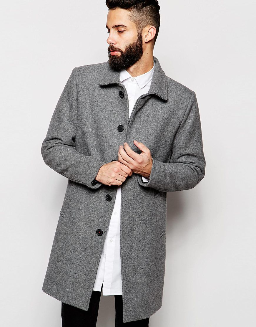 32ef47fe3965 Only & Sons Wool Mac | Men's Trench Coats | Winter outfits men, Asos ...