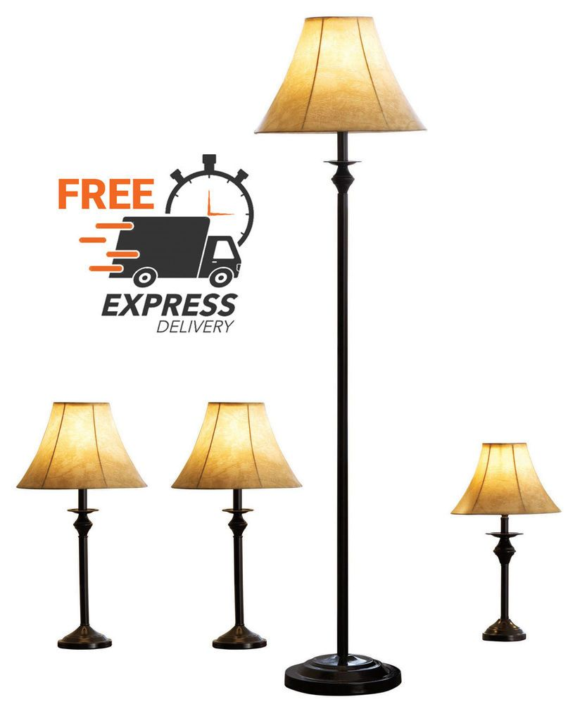 4 Piece Lamp Set 3 Table Lamps 1 Floor Lamp Bronze Finish Modern