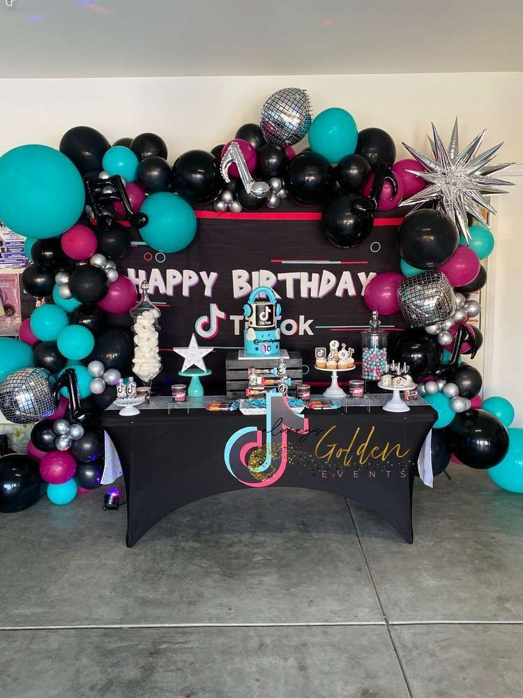Tiktok Birthday Party Ideas Photo 1 Of 8 Music Birthday Party Glow Birthday Party Birthday Party Centerpieces
