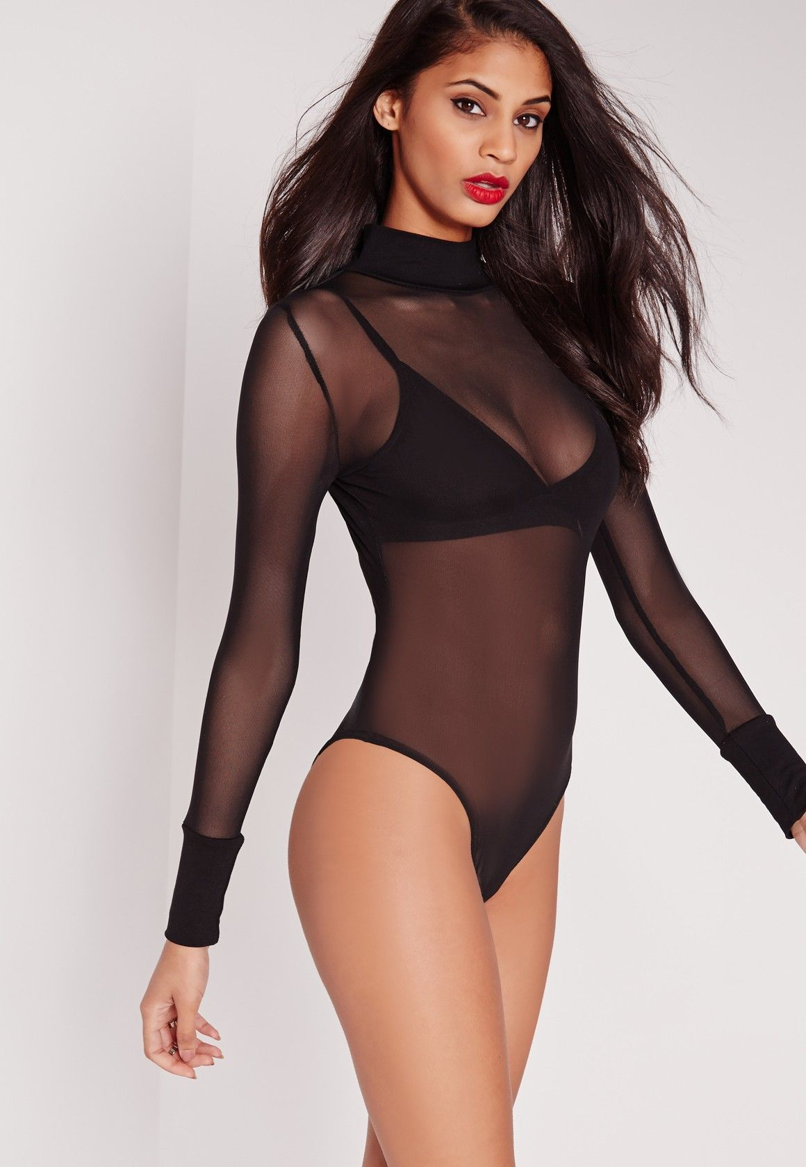 Missguided - High Neck Mesh Bodysuit Black  790d9a515